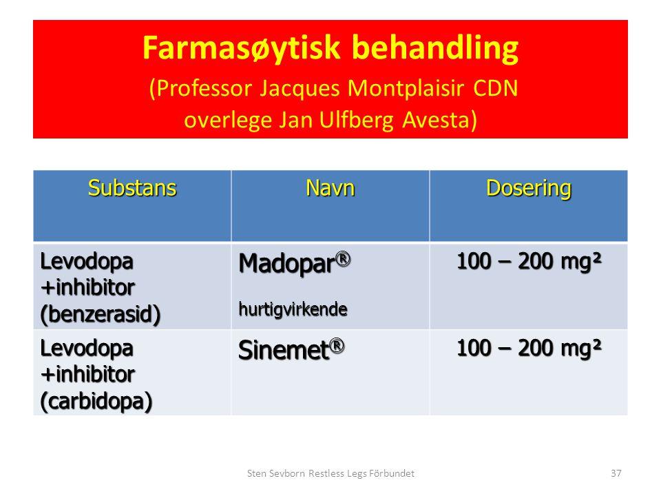 Farmasøytisk behandling (Professor Jacques Montplaisir CDN overlege Jan Ulfberg Avesta) SubstansNavnDosering Levodopa +inhibitor (benzerasid) Madopar