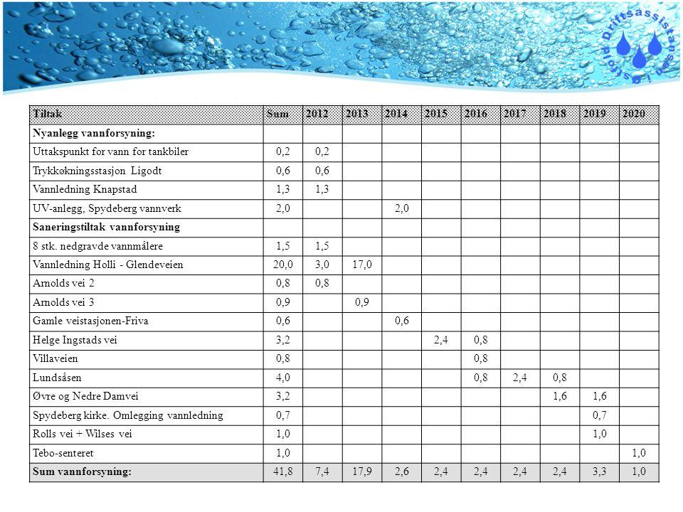 TiltakSum201220132014201520162017201820192020 Nyanlegg vannforsyning: Uttakspunkt for vann for tankbiler0,2 Trykkøkningsstasjon Ligodt0,6 Vannledning Knapstad1,3 UV-anlegg, Spydeberg vannverk2,0 Saneringstiltak vannforsyning 8 stk.