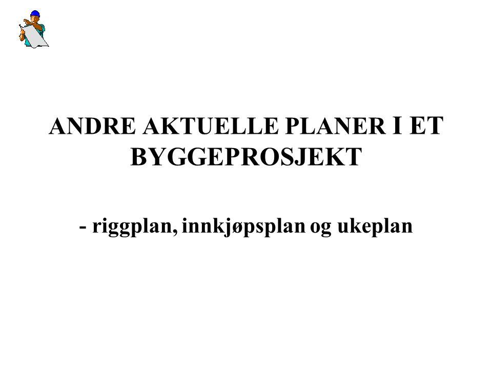 ANDRE AKTUELLE PLANER I ET BYGGEPROSJEKT - riggplan, innkjøpsplan og ukeplan