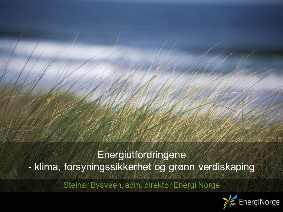 Energiutfordringene - klima, forsyningssikkerhet og grønn verdiskaping Steinar Bysveen, adm.