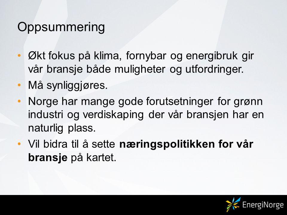 Oppsummering •Økt fokus på klima, fornybar og energibruk gir vår bransje både muligheter og utfordringer. •Må synliggjøres. •Norge har mange gode foru