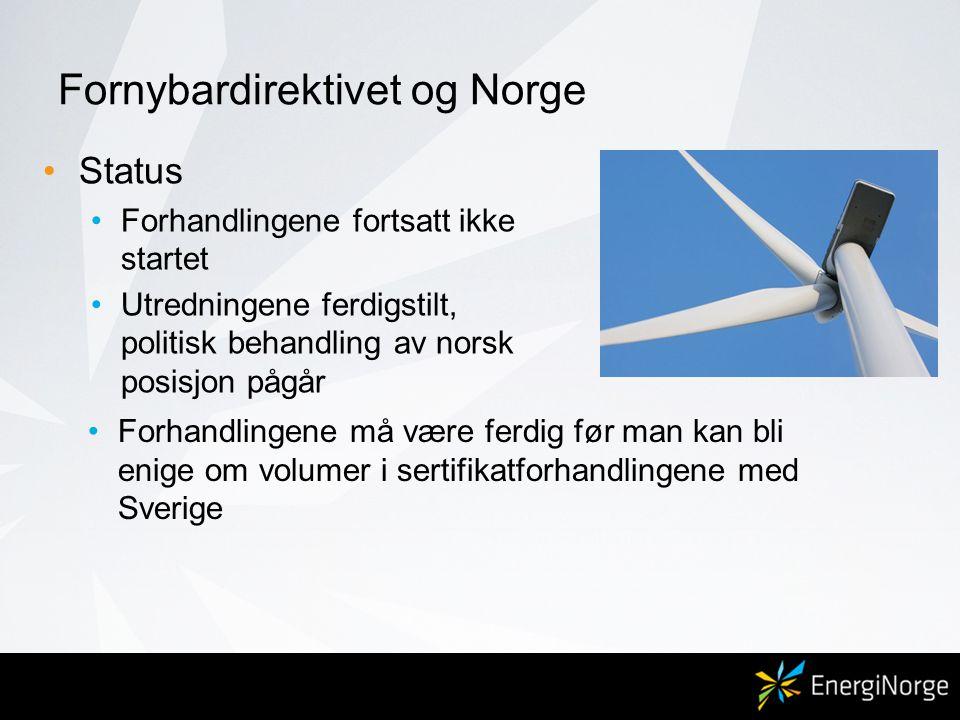 Fornybardirektivet og Norge •Status •Forhandlingene fortsatt ikke startet •Utredningene ferdigstilt, politisk behandling av norsk posisjon pågår •Forhandlingene må være ferdig før man kan bli enige om volumer i sertifikatforhandlingene med Sverige