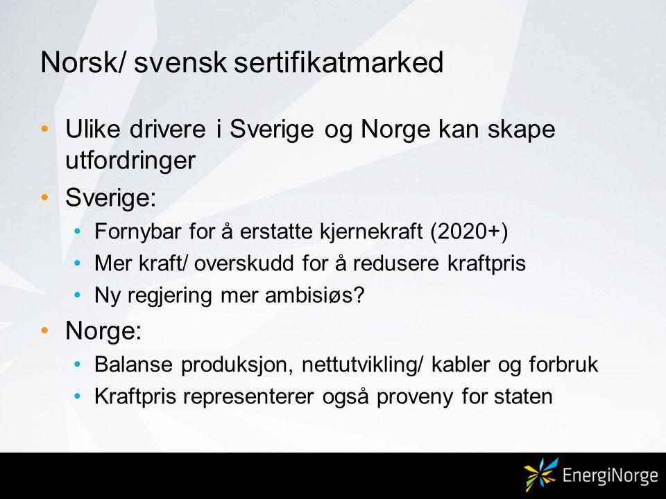 Norsk/ svensk sertifikatmarked •Ulike drivere i Sverige og Norge kan skape utfordringer •Sverige: •Fornybar for å erstatte kjernekraft (2020+) •Mer kraft/ overskudd for å redusere kraftpris •Ny regjering mer ambisiøs.
