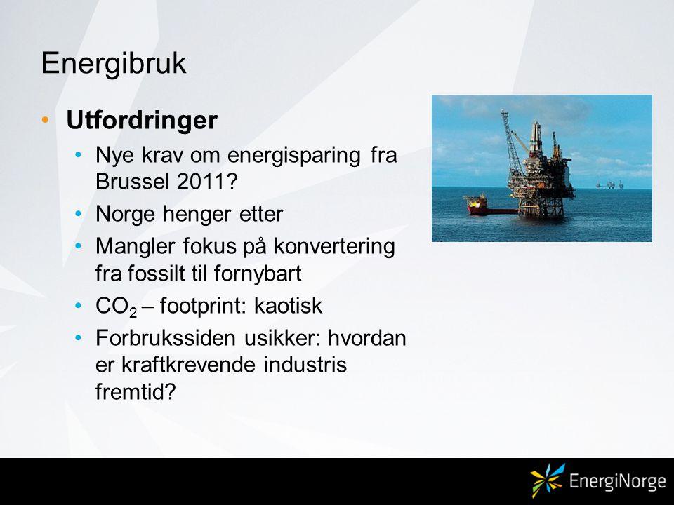 Energibruk •Utfordringer •Nye krav om energisparing fra Brussel 2011? •Norge henger etter •Mangler fokus på konvertering fra fossilt til fornybart •CO