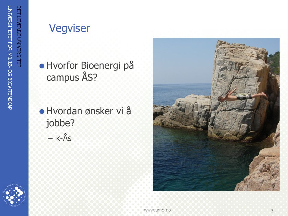 UNIVERSITETET FOR MILJØ- OG BIOVITENSKAP www.umb.no 3 Vegviser  Hvorfor Bioenergi på campus ÅS?  Hvordan ønsker vi å jobbe? –k-Ås DET LEVENDE UNIVER