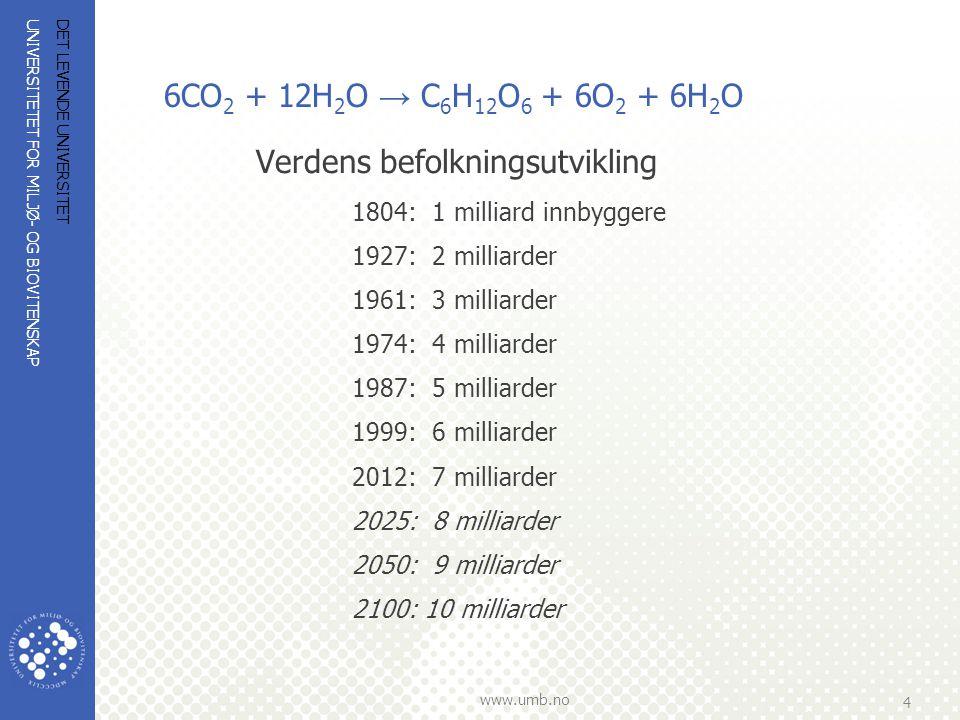 UNIVERSITETET FOR MILJØ- OG BIOVITENSKAP www.umb.no 4 6CO 2 + 12H 2 O → C 6 H 12 O 6 + 6O 2 + 6H 2 O Verdens befolkningsutvikling 1804: 1 milliard inn