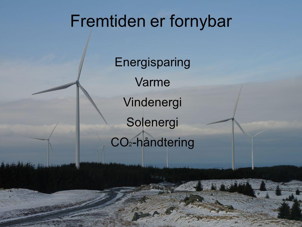 Fremtiden er fornybar Energisparing Varme Vindenergi Solenergi CO 2 -håndtering