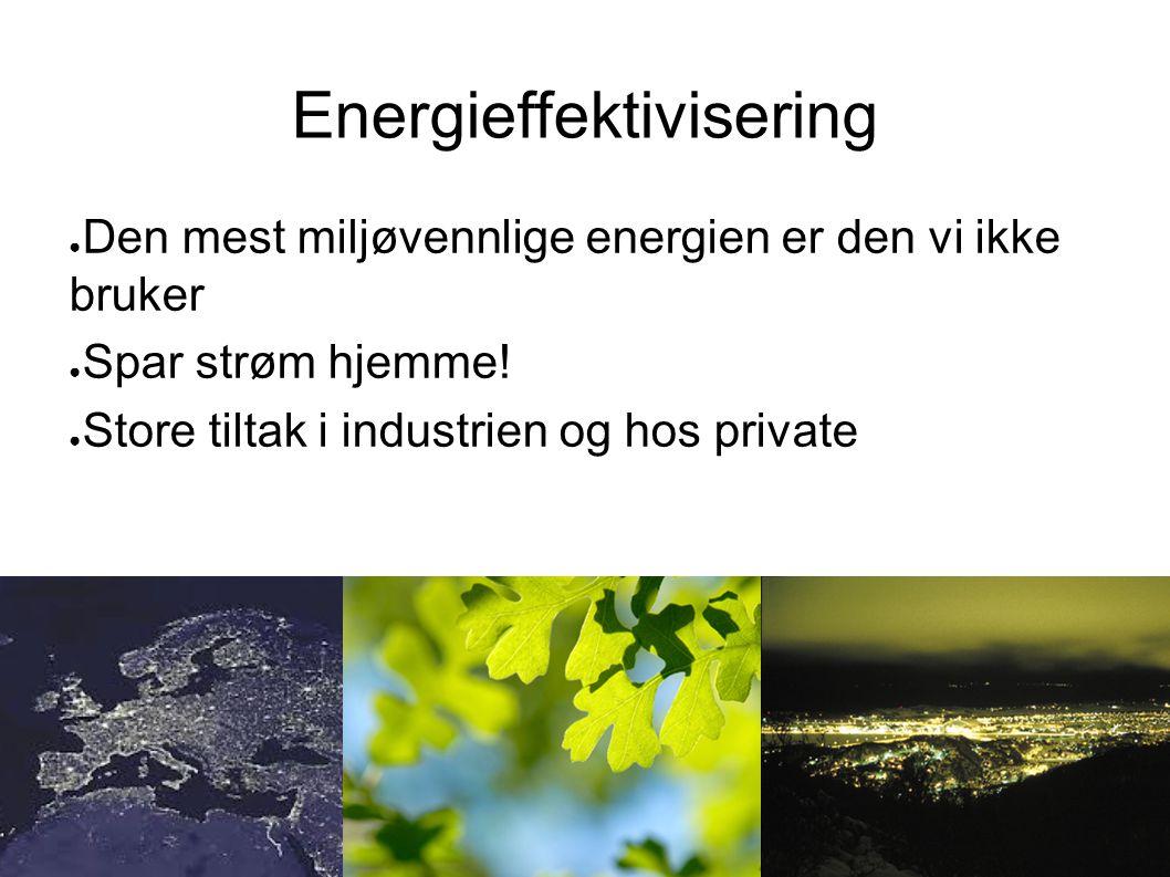 Energieffektivisering ● Den mest miljøvennlige energien er den vi ikke bruker ● Spar strøm hjemme! ● Store tiltak i industrien og hos private