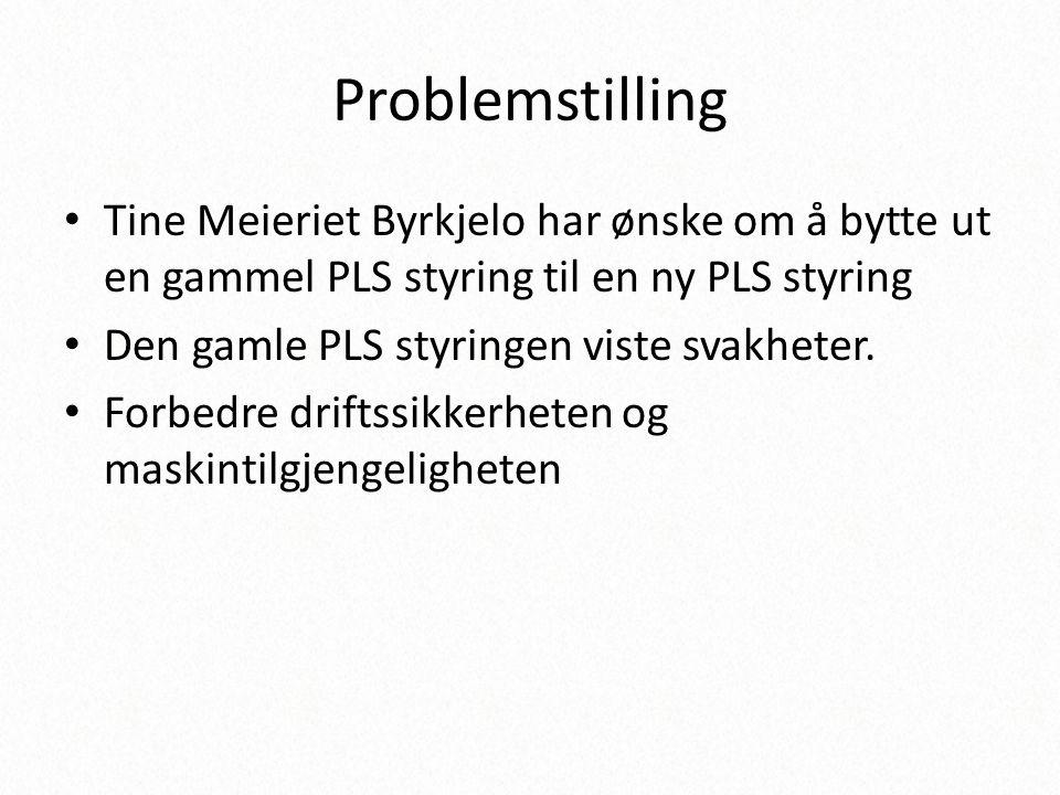 Problemstilling • Tine Meieriet Byrkjelo har ønske om å bytte ut en gammel PLS styring til en ny PLS styring • Den gamle PLS styringen viste svakheter