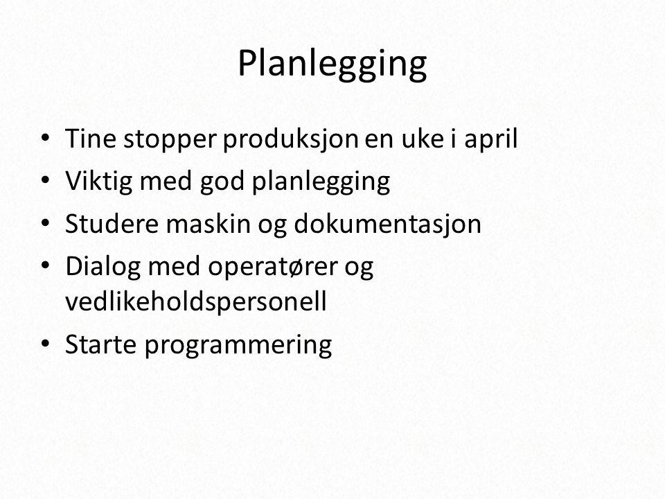 Planlegging • Tine stopper produksjon en uke i april • Viktig med god planlegging • Studere maskin og dokumentasjon • Dialog med operatører og vedlike