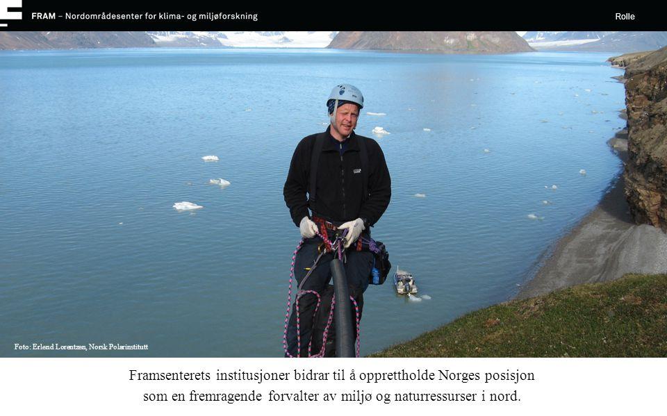 Framsenterets institusjoner bidrar til å opprettholde Norges posisjon som en fremragende forvalter av miljø og naturressurser i nord. Rolle Foto: Erle
