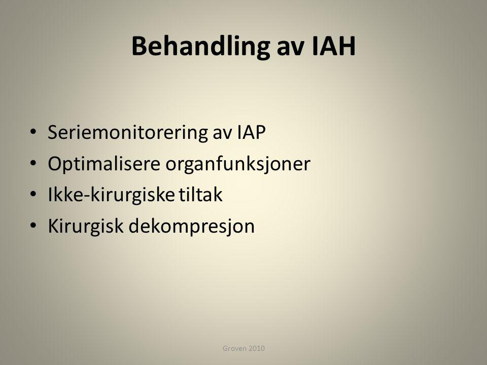 Behandling av IAH • Seriemonitorering av IAP • Optimalisere organfunksjoner • Ikke-kirurgiske tiltak • Kirurgisk dekompresjon Groven 2010