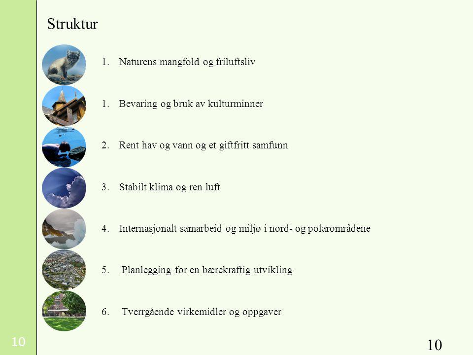 10 1.Naturens mangfold og friluftsliv 1.Bevaring og bruk av kulturminner 2.Rent hav og vann og et giftfritt samfunn 3.Stabilt klima og ren luft 4.Internasjonalt samarbeid og miljø i nord- og polarområdene 5.