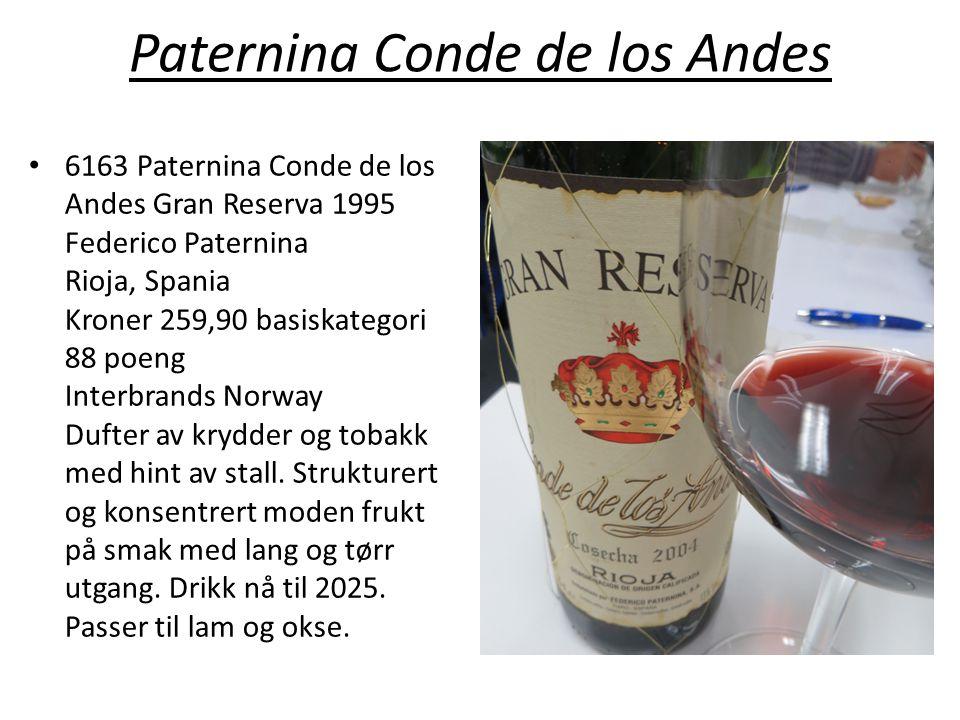 Paternina Conde de los Andes • 6163 Paternina Conde de los Andes Gran Reserva 1995 Federico Paternina Rioja, Spania Kroner 259,90 basiskategori 88 poe