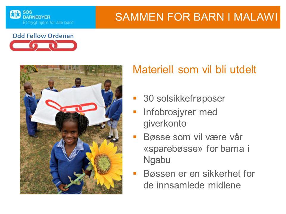  30 solsikkefrøposer  Infobrosjyrer med giverkonto  Bøsse som vil være vår «sparebøsse» for barna i Ngabu  Bøssen er en sikkerhet for de innsamled