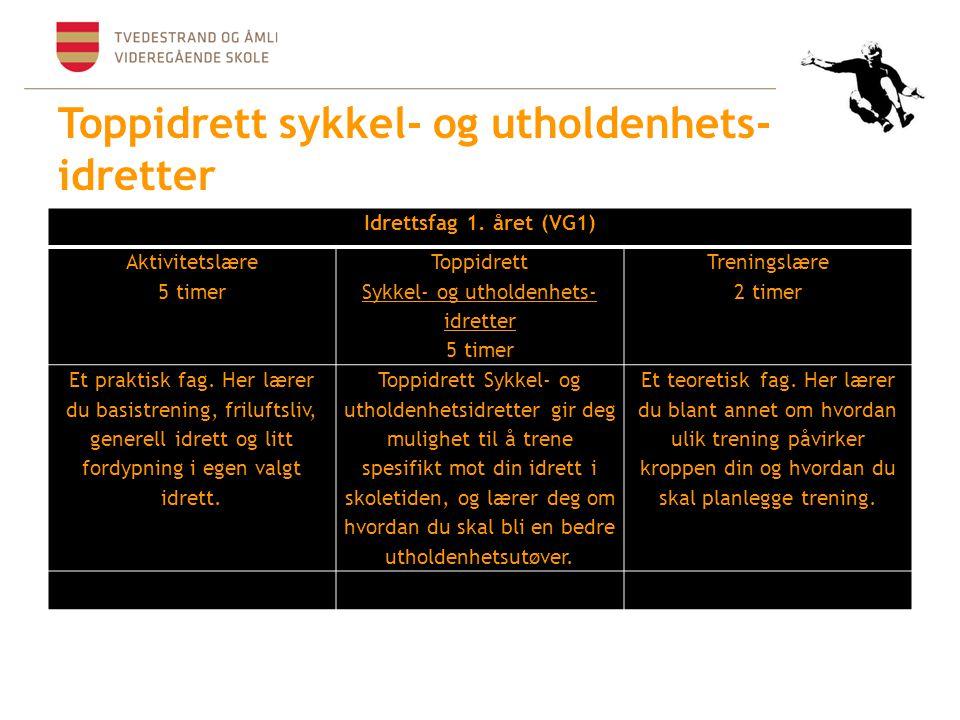 Toppidrett sykkel- og utholdenhets- idretter Idrettsfag 1. året (VG1) Aktivitetslære 5 timer Toppidrett Sykkel- og utholdenhets- idretter 5 timer Tren