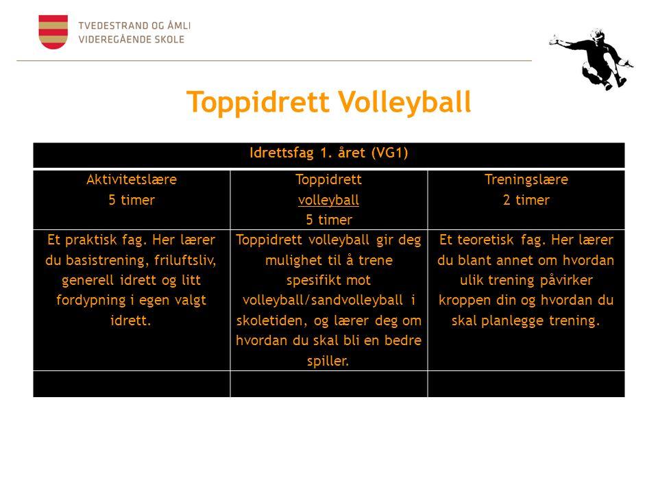 Toppidrett Volleyball Idrettsfag 1. året (VG1) Aktivitetslære 5 timer Toppidrett volleyball 5 timer Treningslære 2 timer Et praktisk fag. Her lærer du