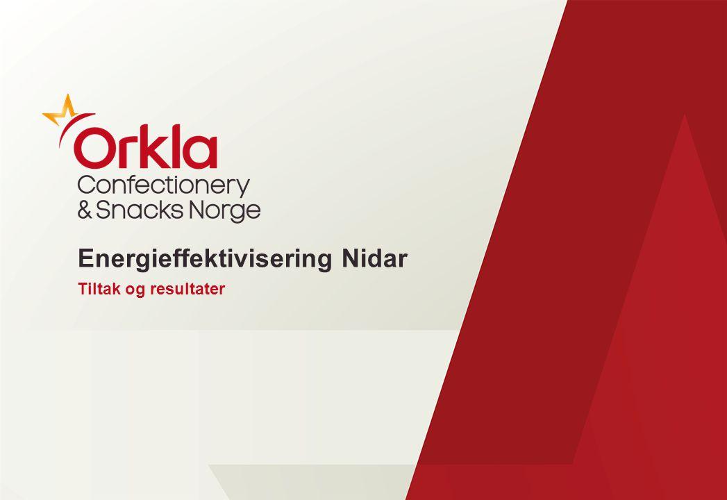 Nidar Trondheim: Fabrikk og lager –Omsetning 1219 mill –530 medarbeidere totalt –350 medarbeidere i Trondheim –Tonnasje produsert ca.13 000 –10 produksjonslinjer –39 000 m2 bygningsmasse –13 000 m2 leide lagerlokaler (Dora)
