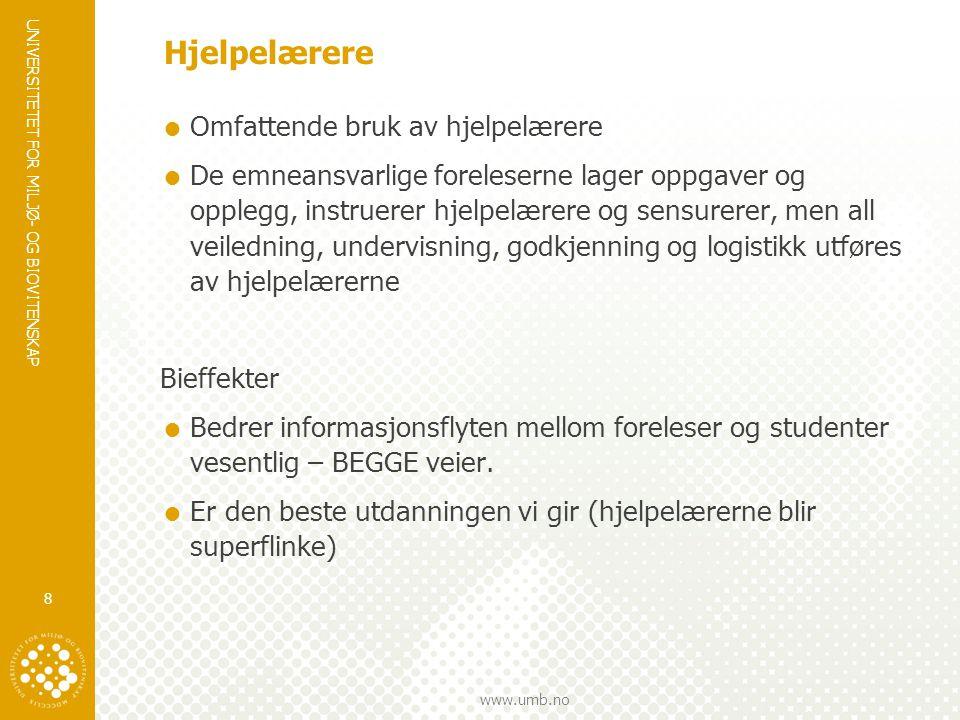 UNIVERSITETET FOR MILJØ- OG BIOVITENSKAP www.umb.no Hjelpelærere  Omfattende bruk av hjelpelærere  De emneansvarlige foreleserne lager oppgaver og o