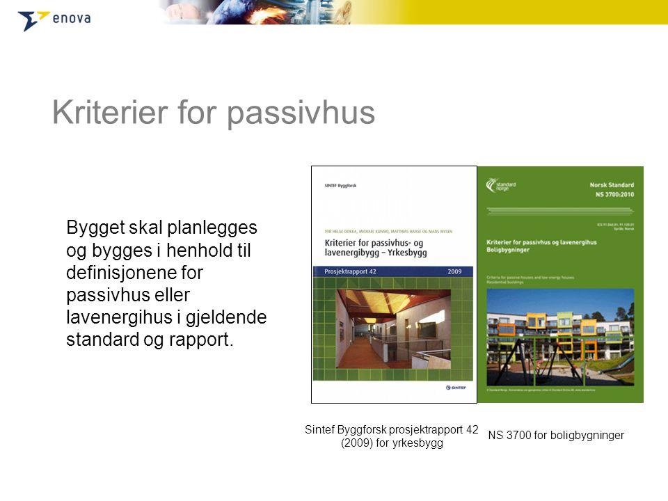 Kriterier for passivhus Bygget skal planlegges og bygges i henhold til definisjonene for passivhus eller lavenergihus i gjeldende standard og rapport.