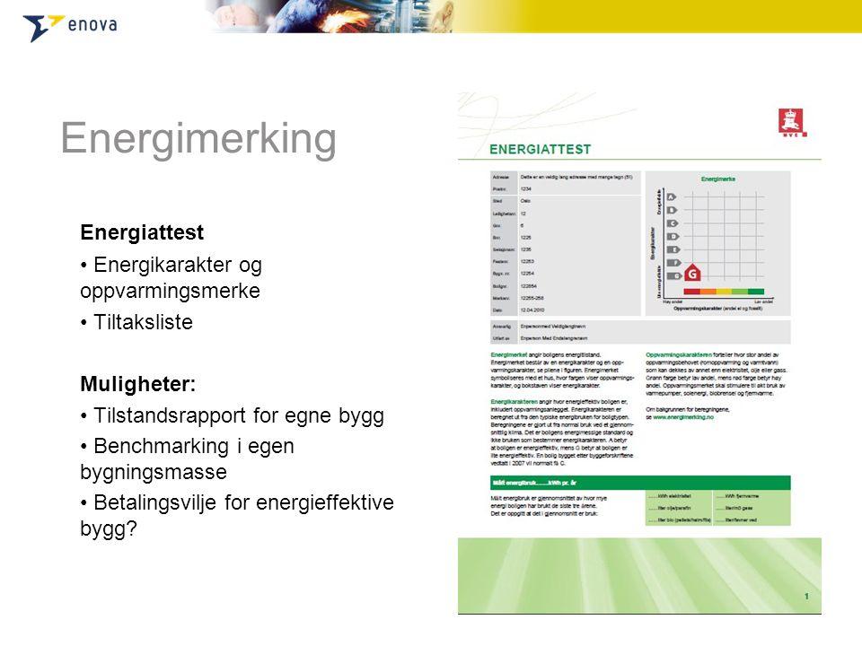Energimerking Energiattest • Energikarakter og oppvarmingsmerke • Tiltaksliste Muligheter: • Tilstandsrapport for egne bygg • Benchmarking i egen bygn