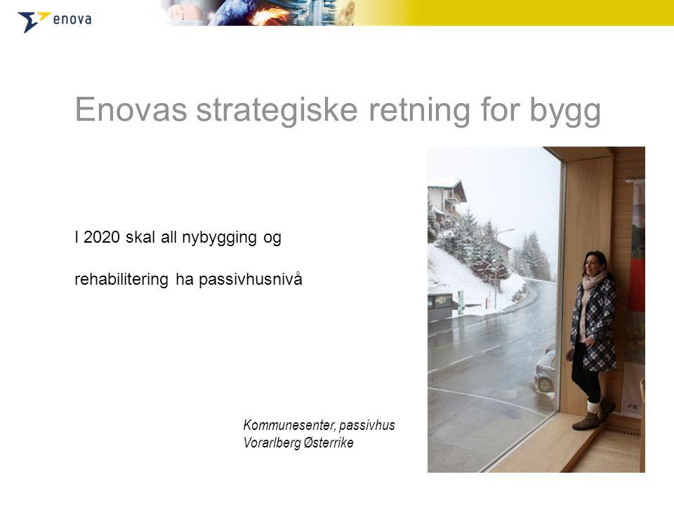 Enovas strategiske retning for bygg I 2020 skal all nybygging og rehabilitering ha passivhusnivå Kommunesenter, passivhus Vorarlberg Østerrike