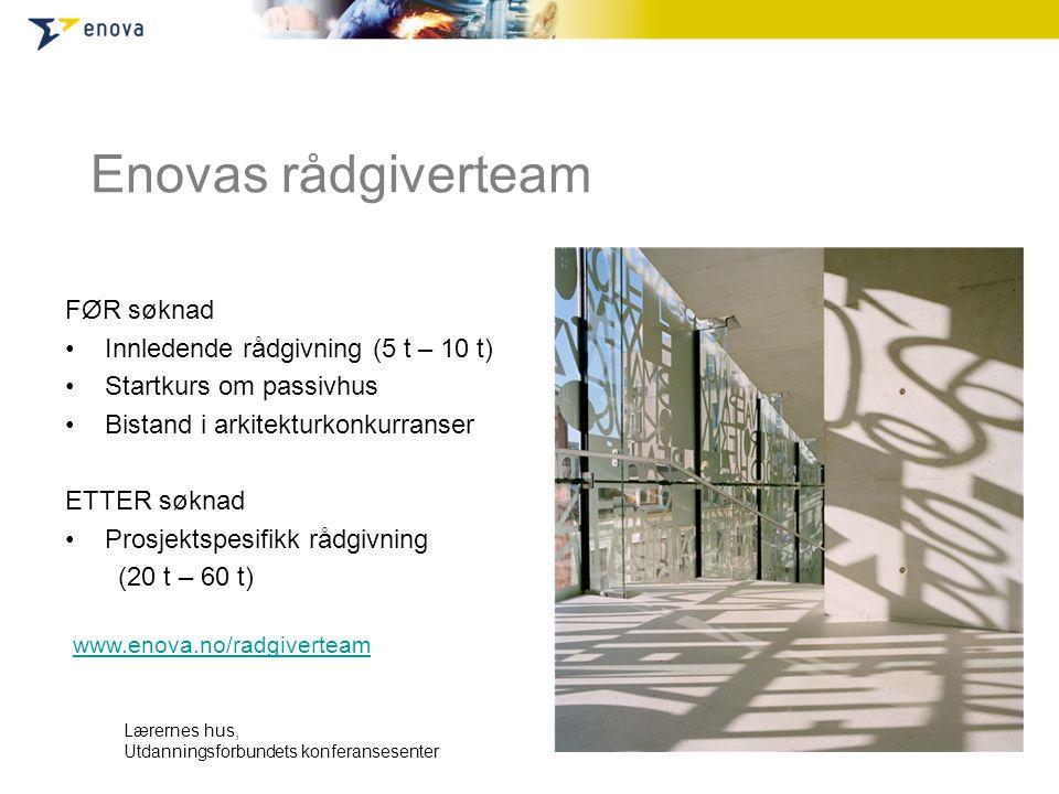 Enovas rådgiverteam FØR søknad •Innledende rådgivning (5 t – 10 t) •Startkurs om passivhus •Bistand i arkitekturkonkurranser ETTER søknad •Prosjektspe