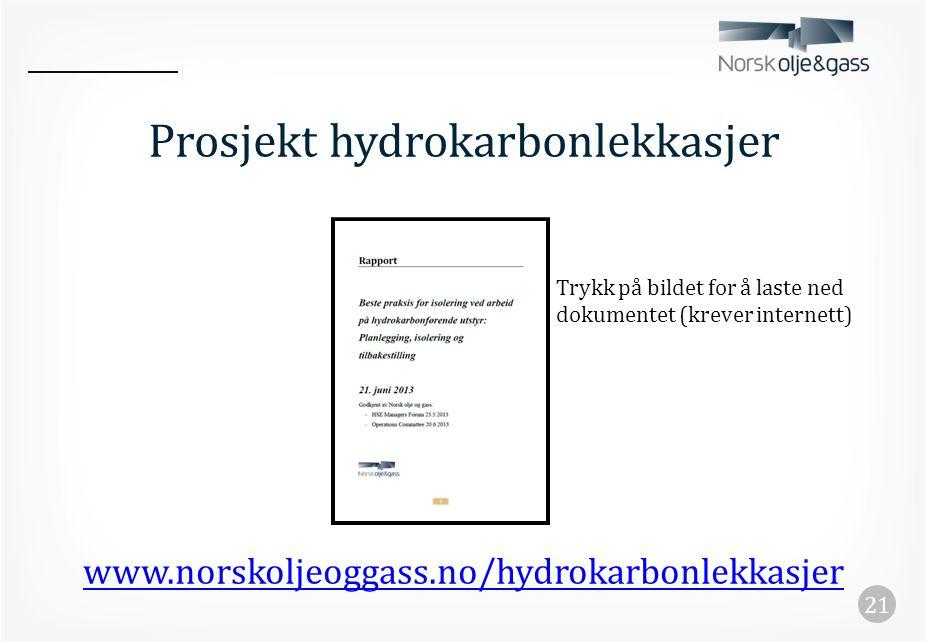 Prosjekt hydrokarbonlekkasjer www.norskoljeoggass.no/hydrokarbonlekkasjer 21 Trykk på bildet for å laste ned dokumentet (krever internett)