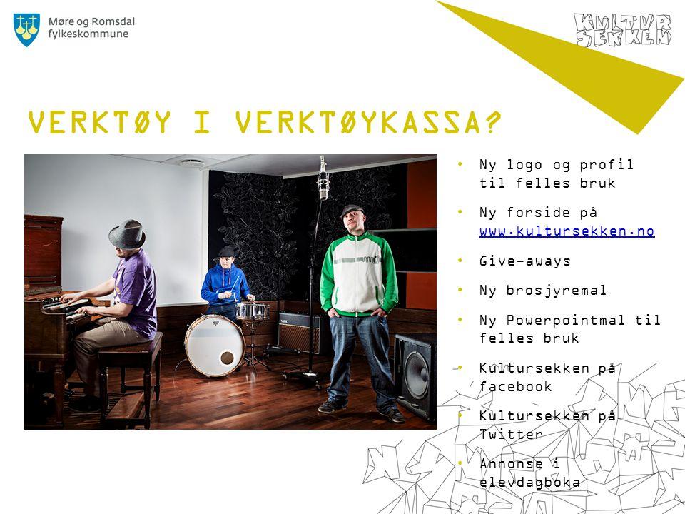 •Ny logo og profil til felles bruk •Ny forside på www.kultursekken.no www.kultursekken.no •Give-aways •Ny brosjyremal •Ny Powerpointmal til felles bruk •Kultursekken på facebook •Kultursekken på Twitter •Annonse i elevdagboka VERKTØY I VERKTØYKASSA