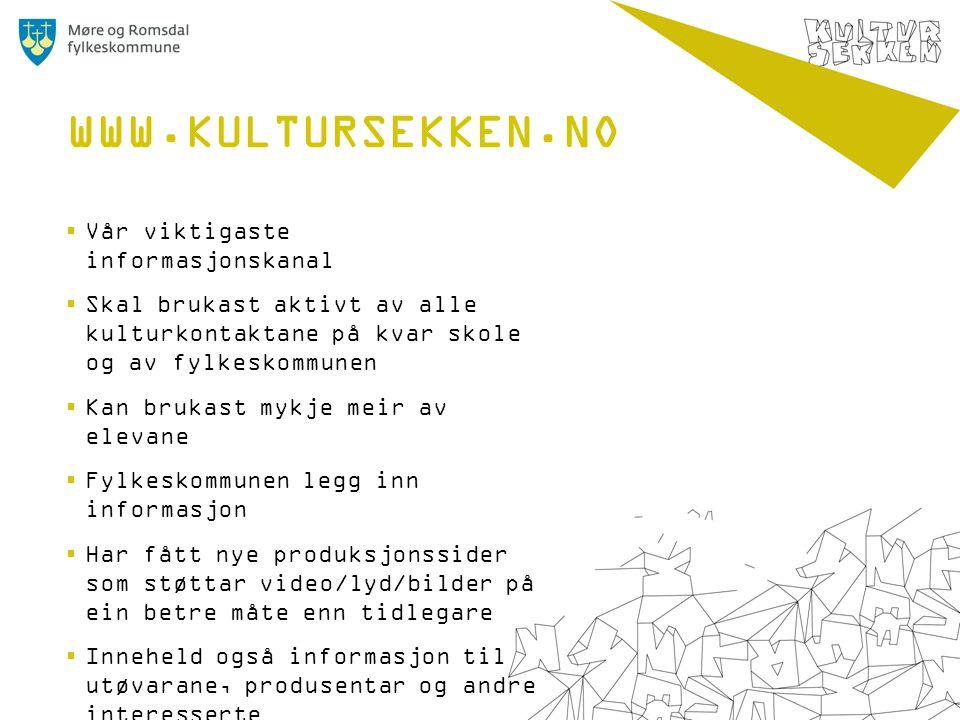  Vår viktigaste informasjonskanal  Skal brukast aktivt av alle kulturkontaktane på kvar skole og av fylkeskommunen  Kan brukast mykje meir av eleva