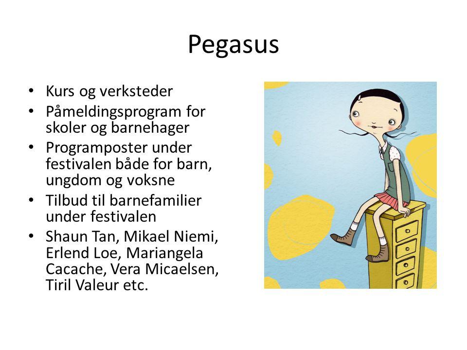 Pegasus • Kurs og verksteder • Påmeldingsprogram for skoler og barnehager • Programposter under festivalen både for barn, ungdom og voksne • Tilbud ti