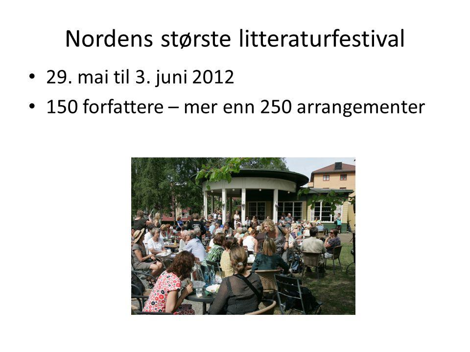 Nordens største litteraturfestival • 29. mai til 3. juni 2012 • 150 forfattere – mer enn 250 arrangementer
