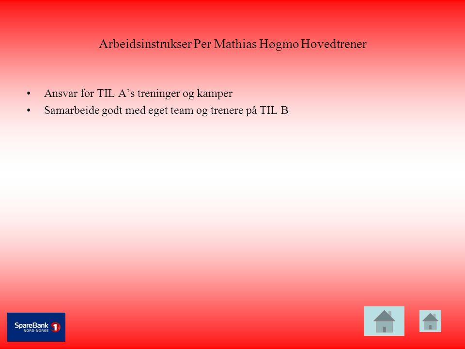 Arbeidsinstrukser Per Mathias Høgmo Hovedtrener •Ansvar for TIL A's treninger og kamper •Samarbeide godt med eget team og trenere på TIL B