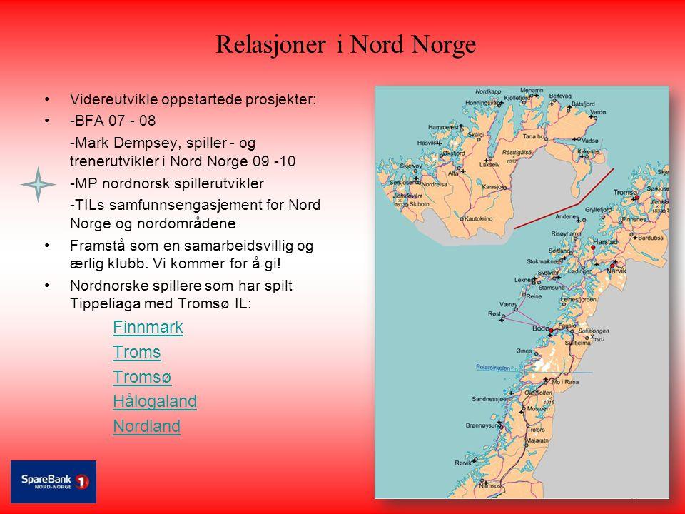 Relasjoner i Nord Norge •Videreutvikle oppstartede prosjekter: •-BFA 07 - 08 -Mark Dempsey, spiller - og trenerutvikler i Nord Norge 09 -10 -MP nordno