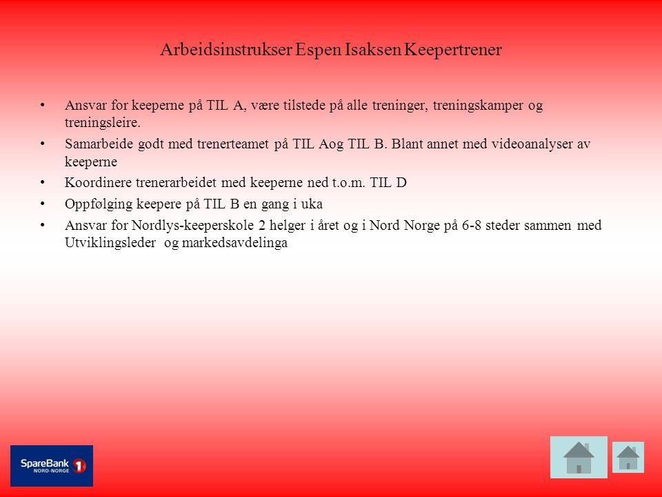 Arbeidsinstrukser Espen Isaksen Keepertrener •Ansvar for keeperne på TIL A, være tilstede på alle treninger, treningskamper og treningsleire. •Samarbe