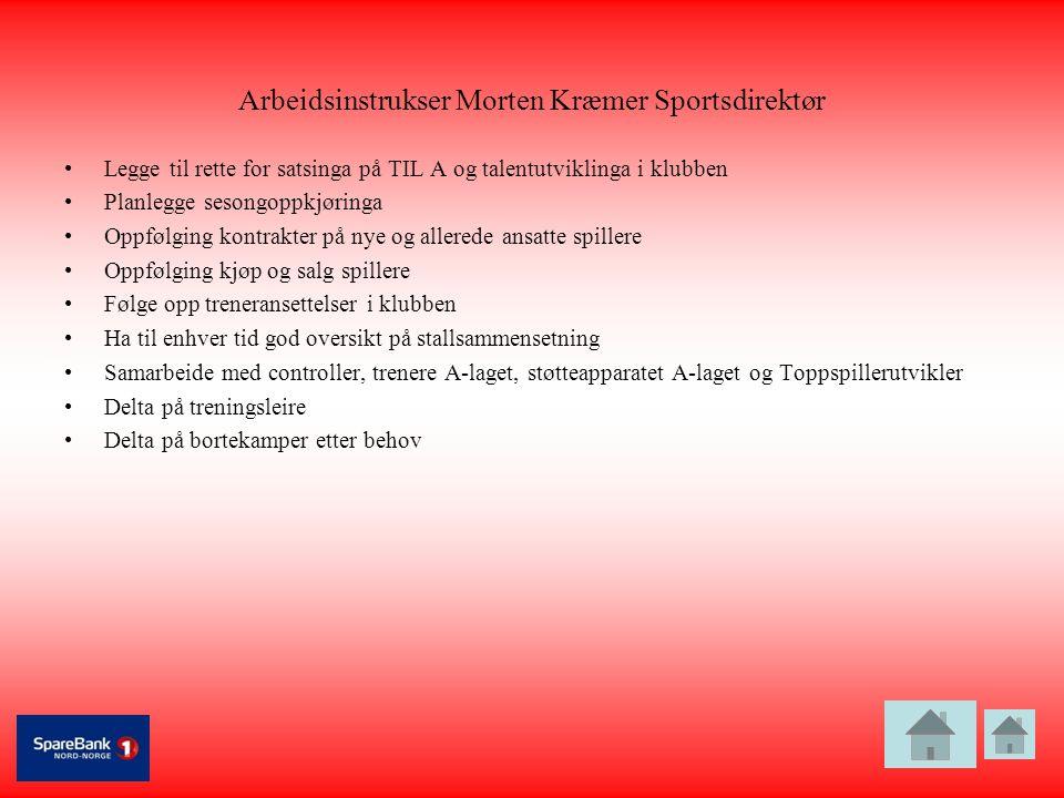 Arbeidsinstrukser Morten Kræmer Sportsdirektør •Legge til rette for satsinga på TIL A og talentutviklinga i klubben •Planlegge sesongoppkjøringa •Oppf