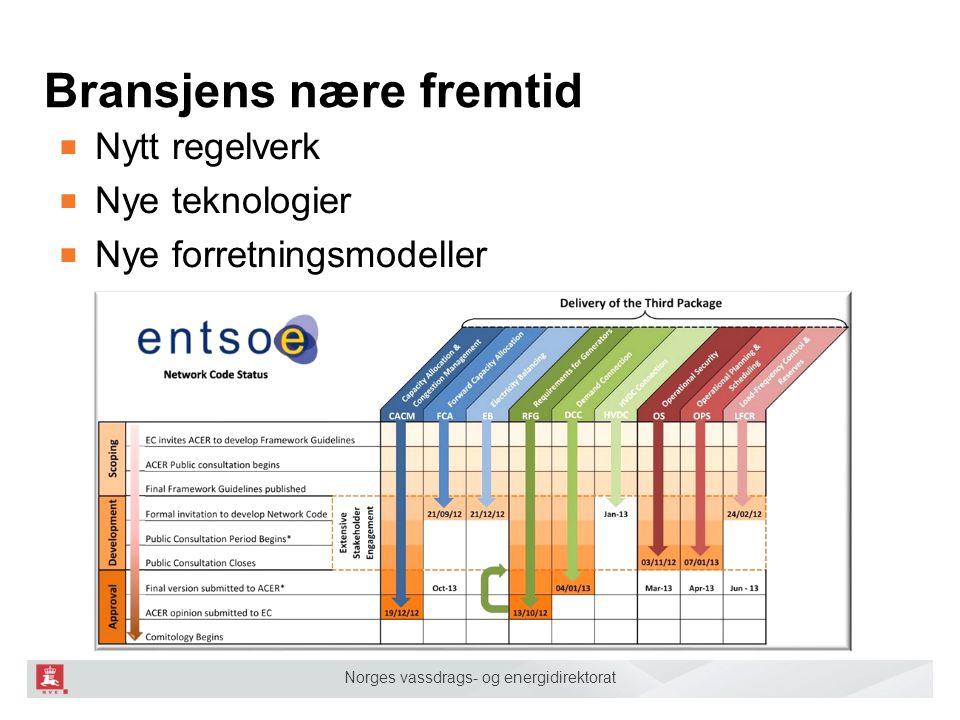 Norges vassdrags- og energidirektorat Bransjens nære fremtid ■ Nytt regelverk ■ Nye teknologier ■ Nye forretningsmodeller