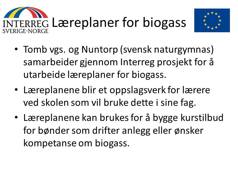 Læreplaner for biogass • Tomb vgs. og Nuntorp (svensk naturgymnas) samarbeider gjennom Interreg prosjekt for å utarbeide læreplaner for biogass. • Lær