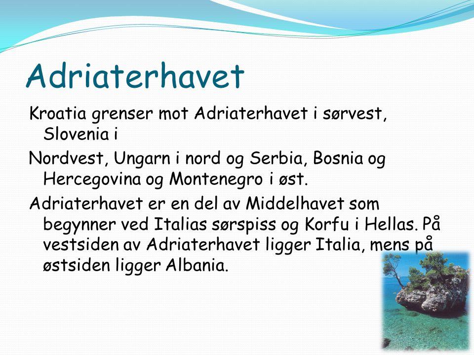 Adriaterhavet Kroatia grenser mot Adriaterhavet i sørvest, Slovenia i Nordvest, Ungarn i nord og Serbia, Bosnia og Hercegovina og Montenegro i øst. Ad