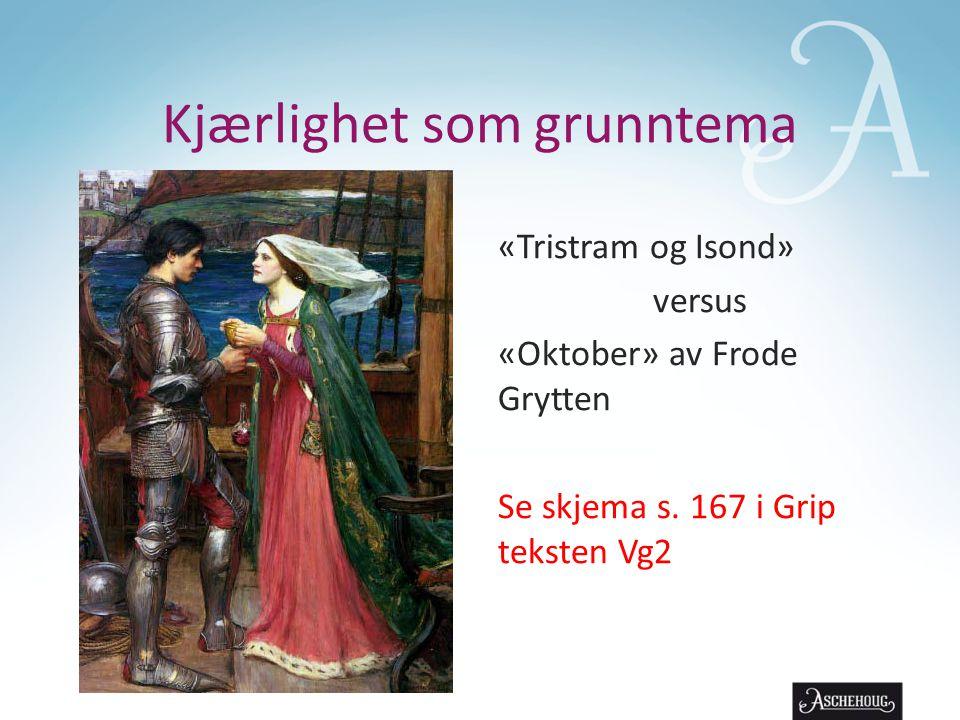 Kjærlighet som grunntema «Tristram og Isond» versus «Oktober» av Frode Grytten Se skjema s. 167 i Grip teksten Vg2