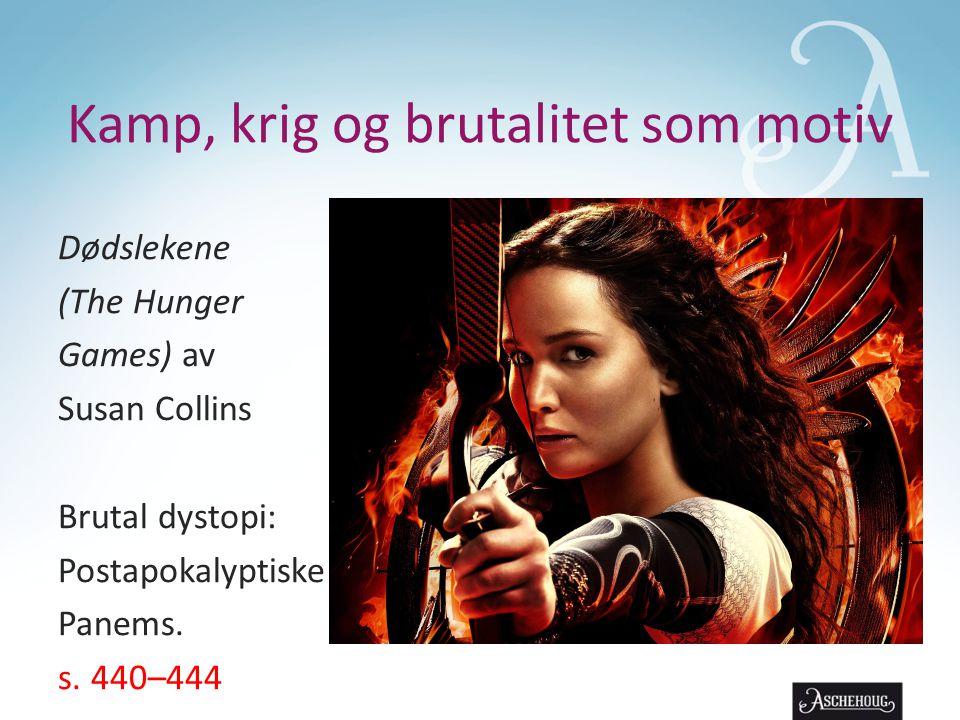 Kamp, krig og brutalitet som motiv Dødslekene (The Hunger Games) av Susan Collins Brutal dystopi: Postapokalyptiske Panems.