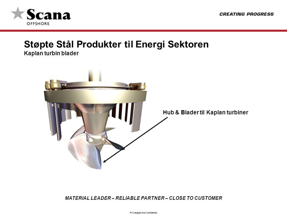 MATERIAL LEADER – RELIABLE PARTNER – CLOSE TO CUSTOMER Priviledged and Confidential Hub & Blader til Kaplan turbiner Støpte Stål Produkter til Energi