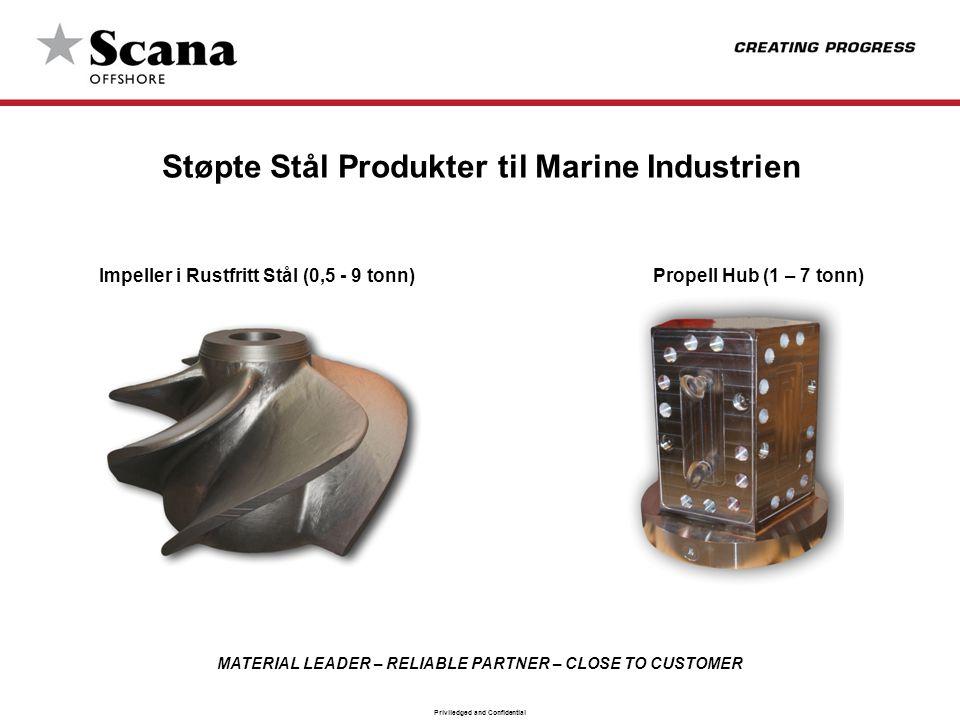 MATERIAL LEADER – RELIABLE PARTNER – CLOSE TO CUSTOMER Priviledged and Confidential Støpte Stål Produkter til Marine Industrien Impeller i Rustfritt S