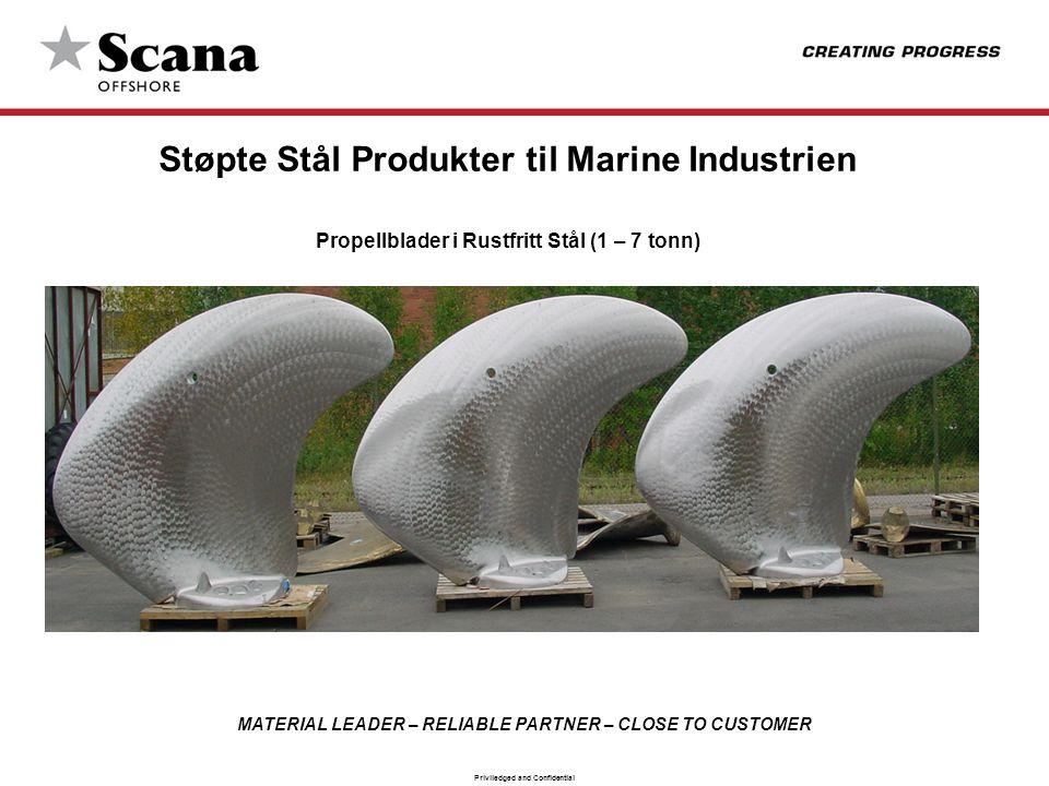 MATERIAL LEADER – RELIABLE PARTNER – CLOSE TO CUSTOMER Priviledged and Confidential Støpte Stål Produkter til Marine Industrien Propellblader i Rustfr