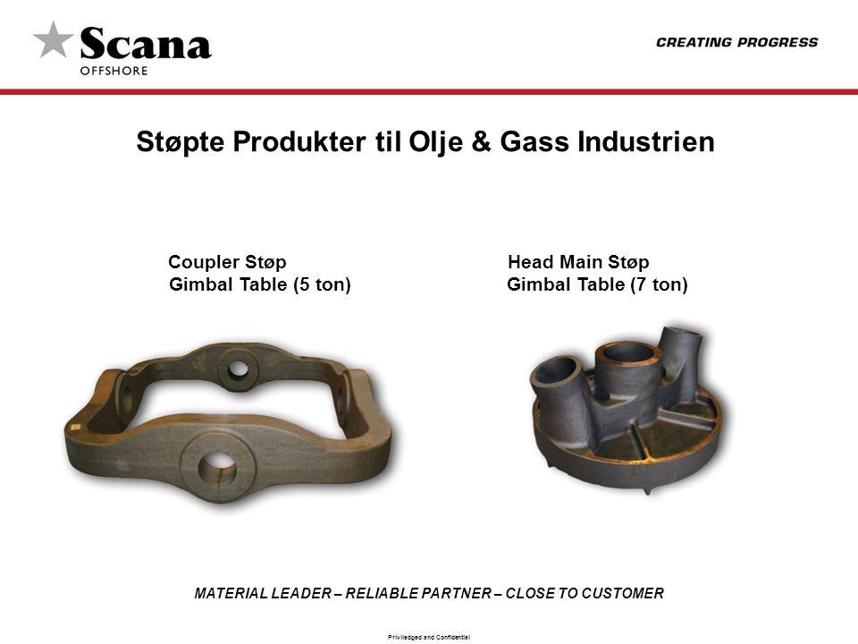 MATERIAL LEADER – RELIABLE PARTNER – CLOSE TO CUSTOMER Priviledged and Confidential Støpte Produkter til Olje & Gass Industrien Coupler Støp Head Main