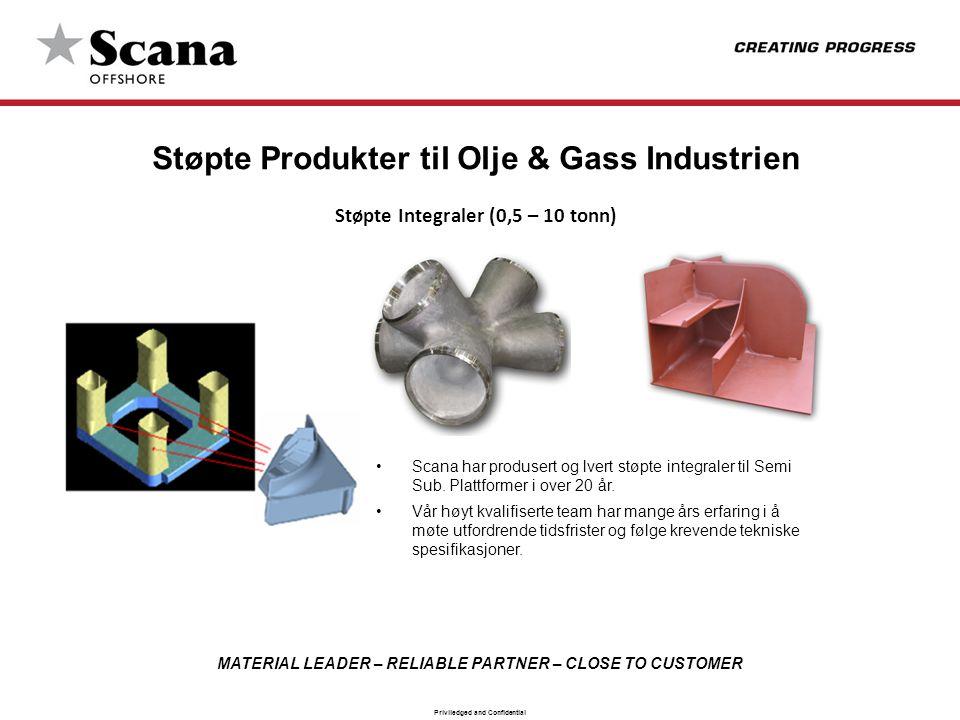MATERIAL LEADER – RELIABLE PARTNER – CLOSE TO CUSTOMER Priviledged and Confidential Støpte Produkter til Olje & Gass Industrien Støpte Integraler (0,5