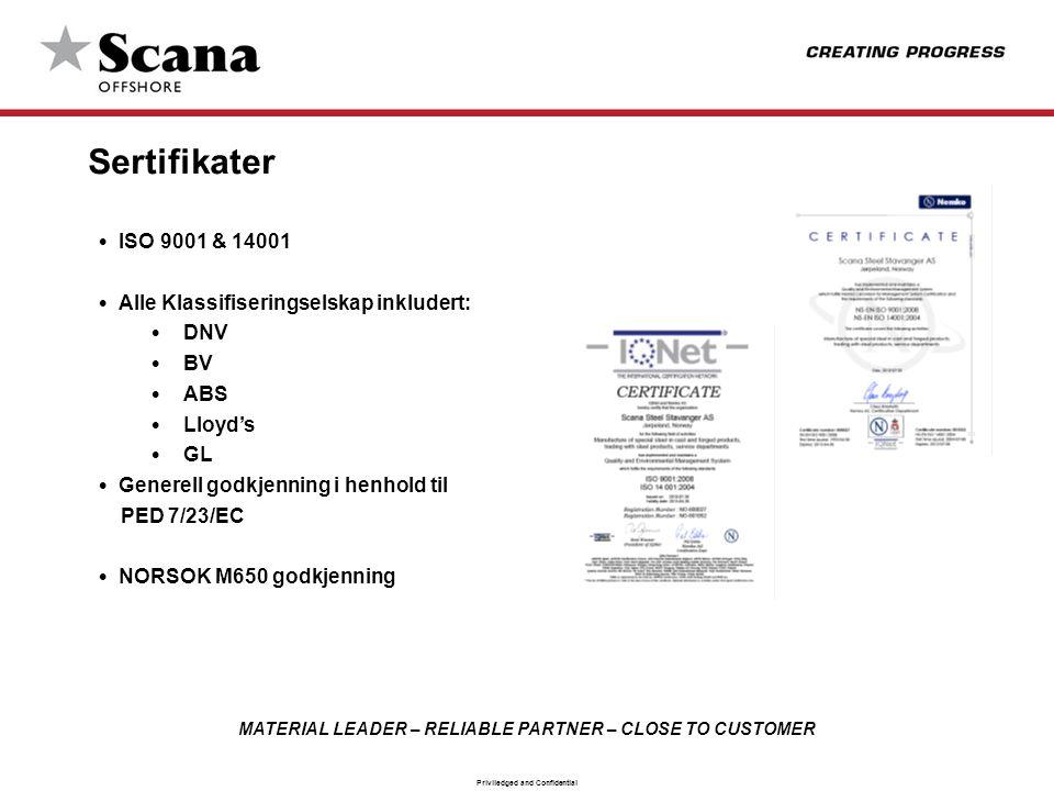 MATERIAL LEADER – RELIABLE PARTNER – CLOSE TO CUSTOMER Priviledged and Confidential Sertifikater • ISO 9001 & 14001 • Alle Klassifiseringselskap inklu