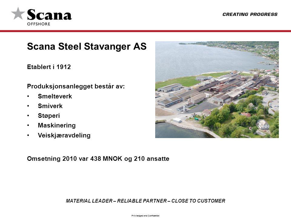MATERIAL LEADER – RELIABLE PARTNER – CLOSE TO CUSTOMER Priviledged and Confidential Scana Steel Stavanger AS Etablert i 1912 Produksjonsanlegget bestå