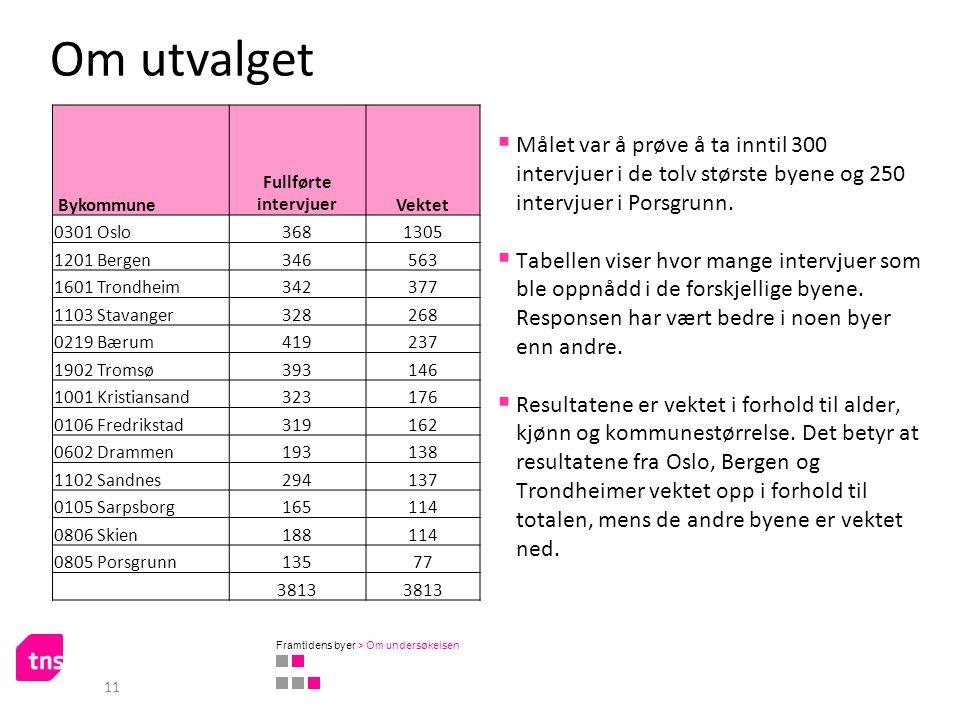 Om utvalget 11  Målet var å prøve å ta inntil 300 intervjuer i de tolv største byene og 250 intervjuer i Porsgrunn.  Tabellen viser hvor mange inter
