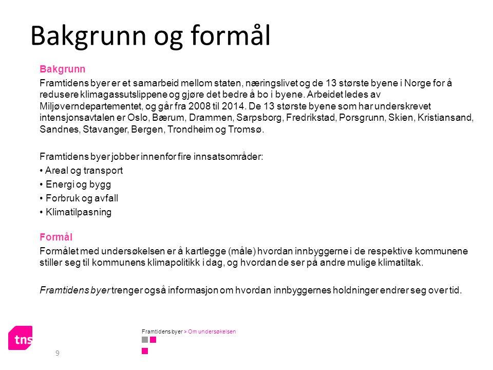 Bakgrunn og formål Bakgrunn Framtidens byer er et samarbeid mellom staten, næringslivet og de 13 største byene i Norge for å redusere klimagassutslipp